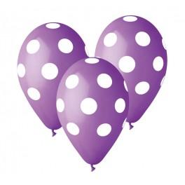 """Balon 12"""" Kropki Pastel  Lavender"""