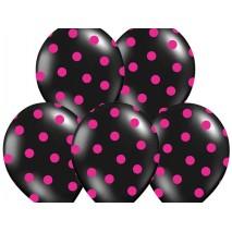 """Balony 14"""" Kropki  Pastel Black 6szt"""